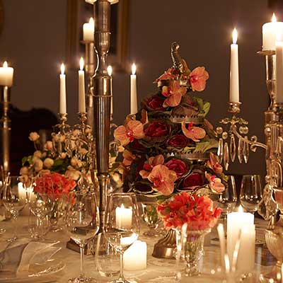 Candelabra at Chair Covers Candelabra