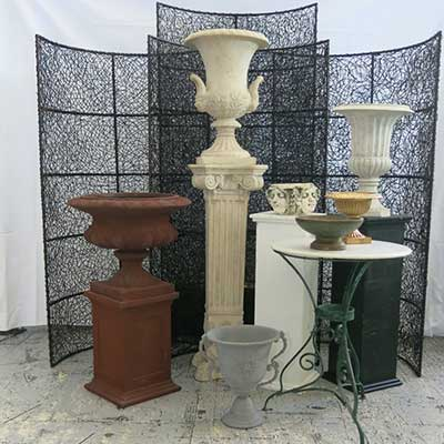 Urns and Pedestals at Chair Covers Candelabra